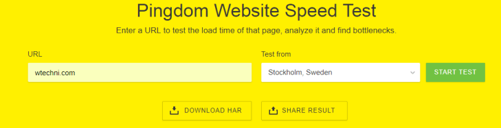 ping test wtechni Website Speed