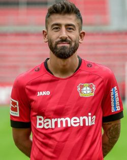 Picture of the 1.85 m (6 ft 1 in) tall Turkish, German central attacking midfielder of Bayer Leverkusen