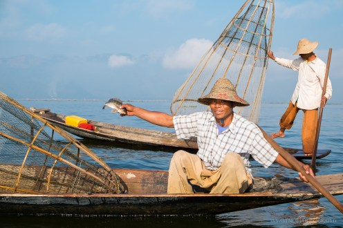 Fisherman with catch, Inle Lake