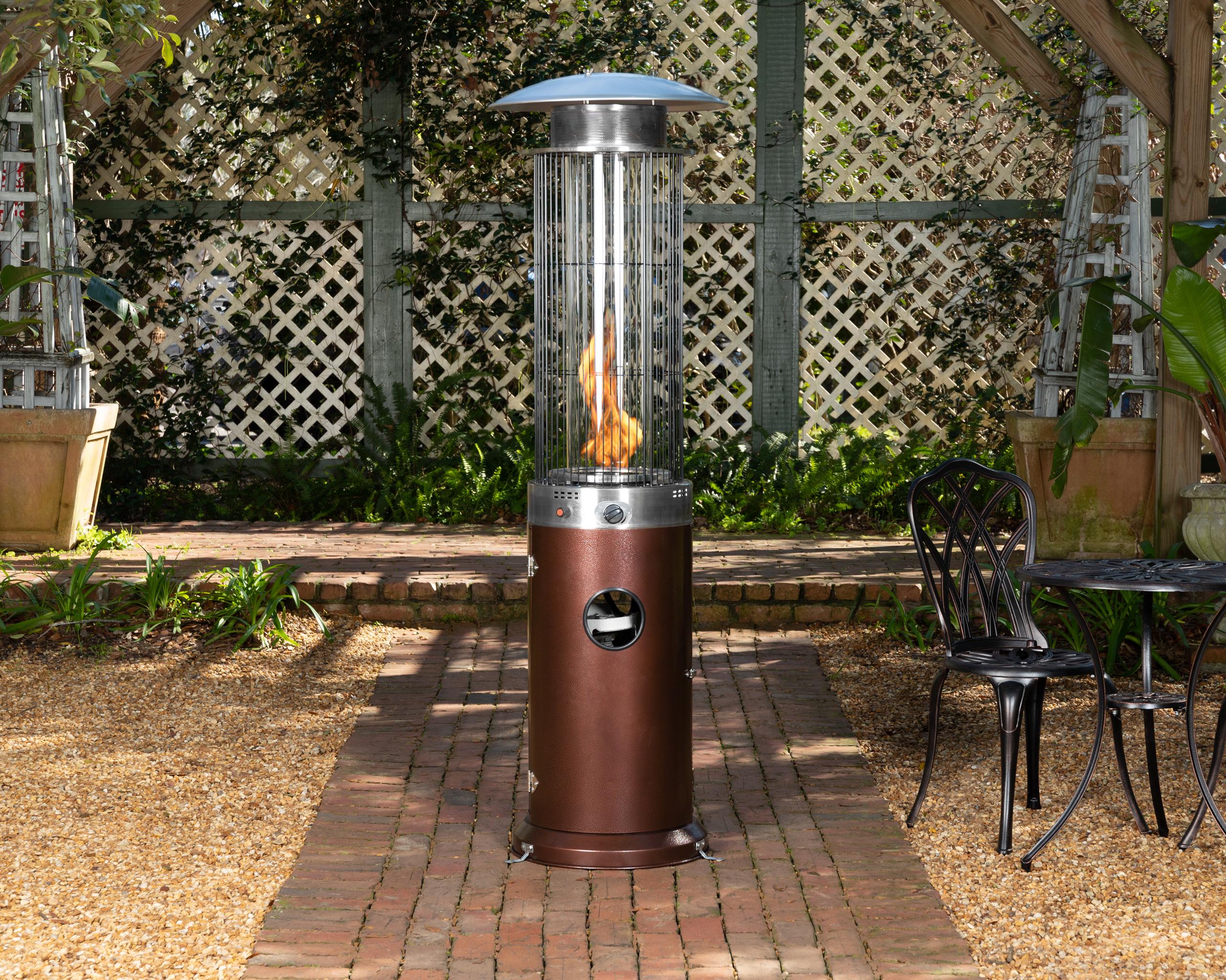 hammered bronze spiral flame patio