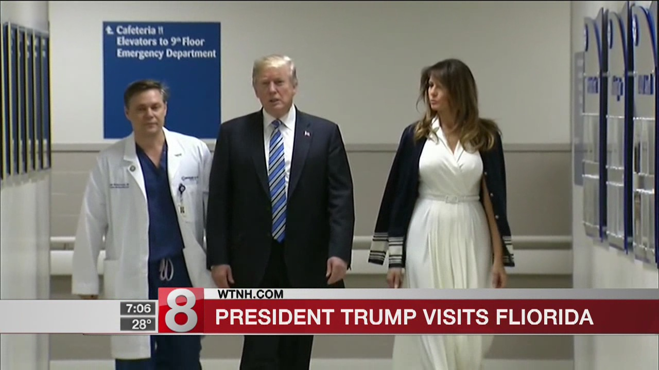 Trump visits Florida family members at hospital after massacre