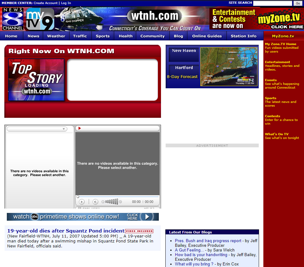 The evolution of WTNH com (1997 to the present) – WTNH com