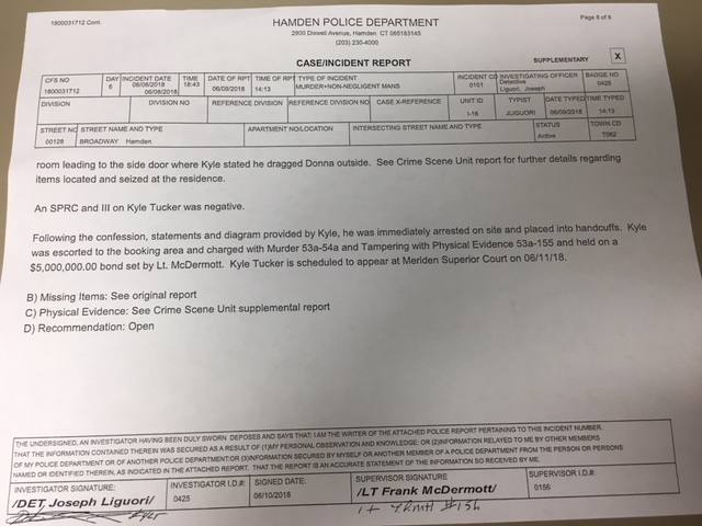 Hamden Police Incident Report regarding Kyle Tucker – WTNH com