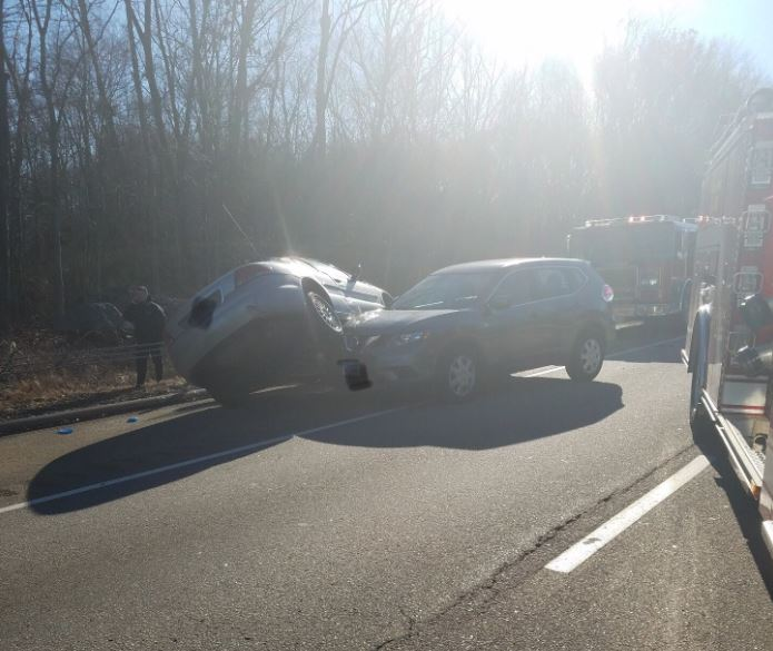 Firefighters respond to a motor vehicle accident on