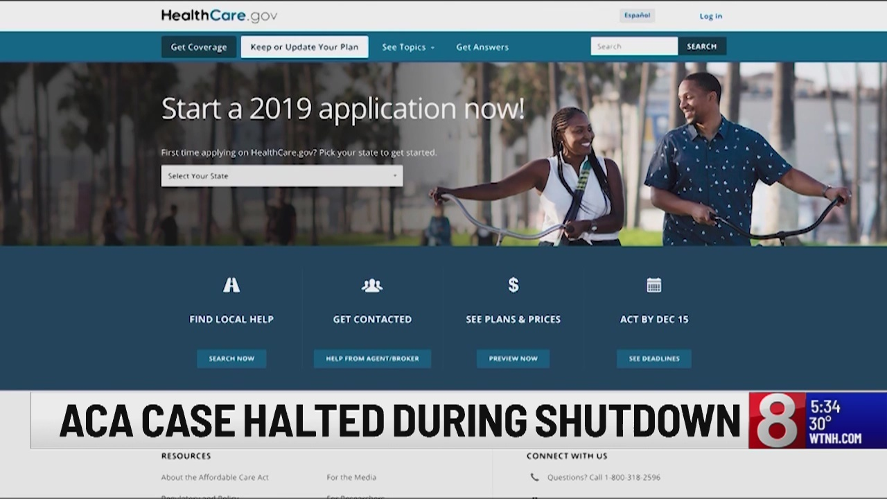 Affordable Care Act case on halt during government shutdown