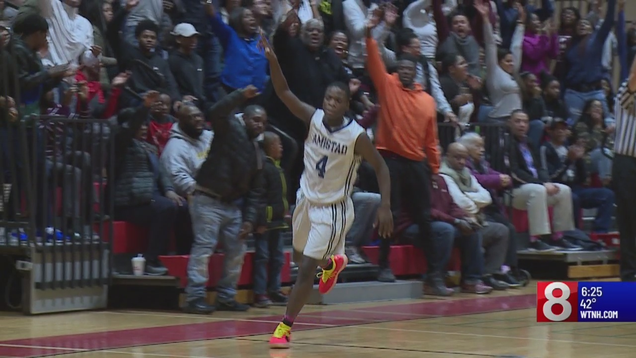 Amistad boys basketball 1 win away from title shot