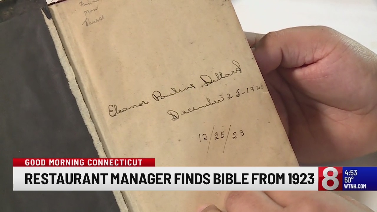 Virginia restaurant manager finds nearly 100-years-old bible