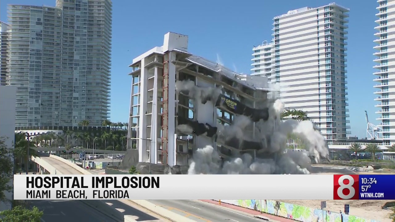 Abandoned Miami hospital implodes