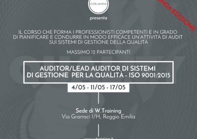 Auditor/Lead Auditor di Sistemi di Gestione per la Qualità – ISO 9001:2015