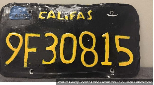 Badly-made fake license plate leads to arrest in California