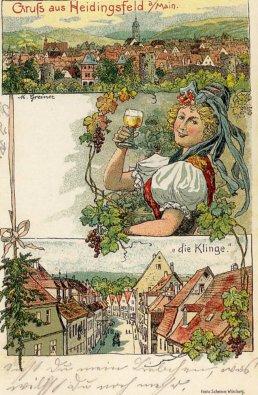"Heidingsfeld Postkarte ""Die Klinge""."