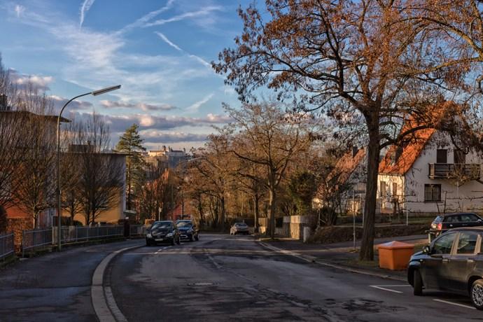 Blick von der Keesburgstraße im Frauenland auf Würzburg.