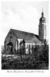 Die Pfarrkirche von Estenfeld auf einer alten Postkarte,