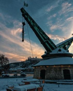 Der Alte Kranen an einem wunderschönen Wintertag im Februar 2021.