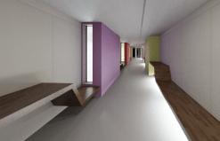 Blick-KG-Flur-Richtung-Altbau_Beleuchtung-unter-Sitzbänken