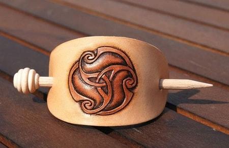 La Tene Motive Leather Hair Brooch Celtic Style