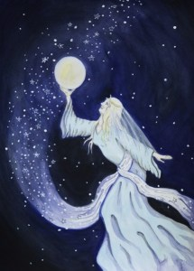 Goddess Paintings - Arianrhod's Castle of Stars - Copyright Bernadette Wulf