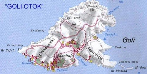 «A Goli Otok, dopo la visita nelle carceri, si ha a disposizione un piccolo esercizio alberghiero ed un negozio di souvenirs ed inoltre si puo prendere a noleggio una mountain bike per arrampicarsi sui rilievi dell' isoletta.» Clicca sull'immagine se vuoi visitare Goli Otok.