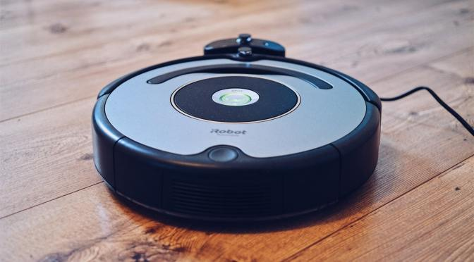 a robotic cleaner on the floor