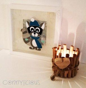 connylicious---richard-raccoon-winteredition---acryl-auf-glas