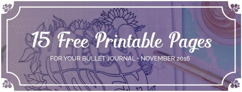 15 Free Printable Pages For Your Bullet Journal SetUp November 2016 Header - Wundertastisch