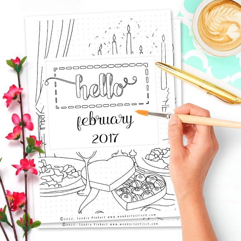 Free Bullet Journal Printables Kit • Hello February 2017 - Wundertastisch Design
