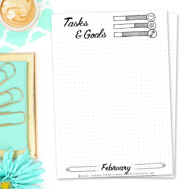 Free Bullet Journal Printables Kit • Tasks & Goals February 2017 - Wundertastisch Design