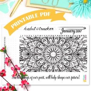 Printable Habit Tracker Mandala Coloring Page January 2017 - Digital PDF - Wundertastisch Design