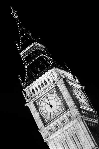 St Stephens Tower, which houses Big Ben, photographed at 11pm