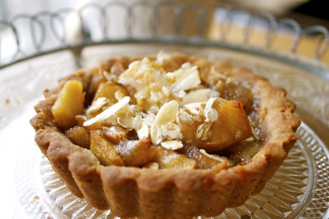 tart, almonds,apples,honey,buckwheat,olive oil
