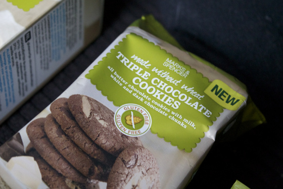 marks and spencer, made without wheat ,triple ,chocolate ,cookies
