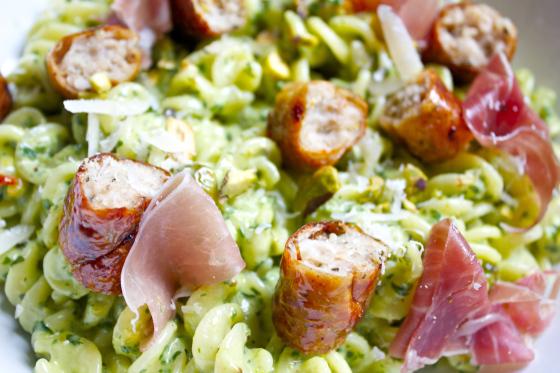 Gluten Free, Pistachio Pesto, gluten free Pasta, Prosciutto , Heck Sausages, gluten free blog uk, gluten free blog, lifestyle blog, lifestyle blog uk,