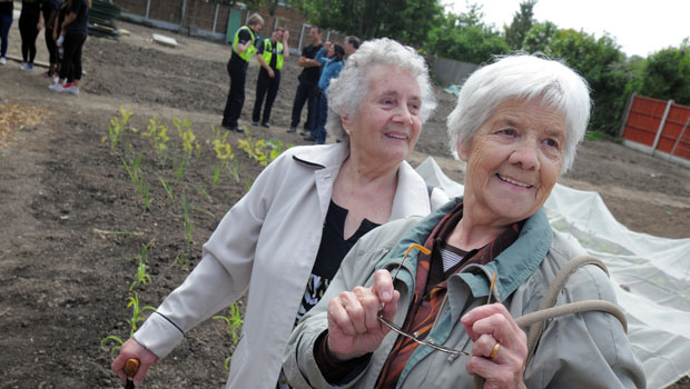 Local residents Gwen and Mary explore the garden.
