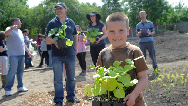 Even the local kids got in on the gardening action!