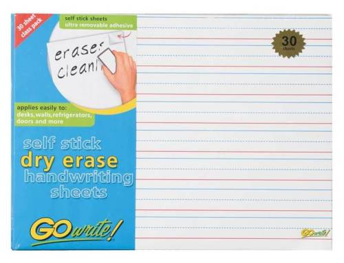 """Dry Erase Sheets 8.25x11; 3/4"""" rule; 3/8"""" dotted midline"""