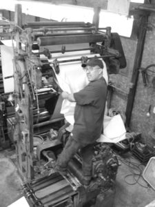 The Webendorfer Offset Web Printing Press, captained by Masterprinter Dave Dewitt.