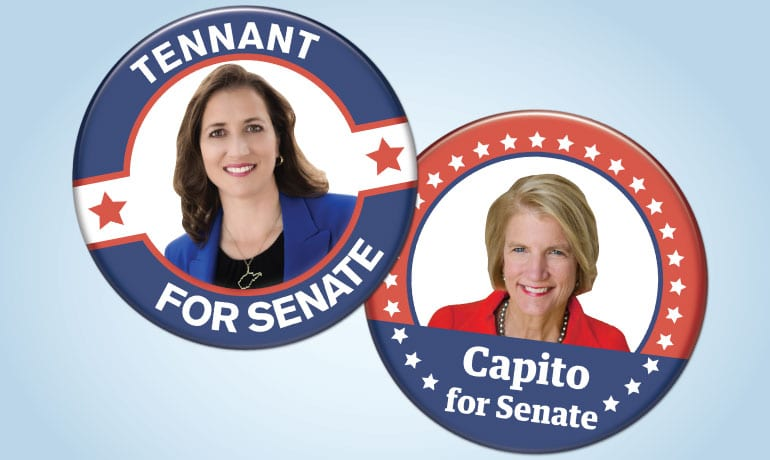 """Two political buttons. One for Natalie Tennant with a photo of here stating """"Tennant for Senate"""" and the other with Shelley Moore Capito saying """"Capito for Senate"""""""