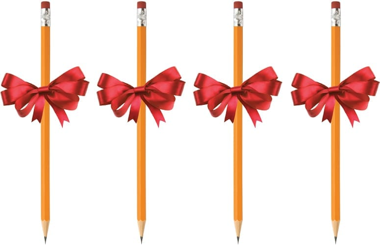 four pencils with red gift bows on them