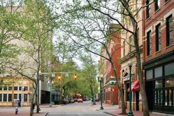 View down a downtown street.