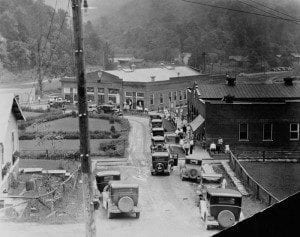 Fayette County in the 1920's old cars lined up on the street