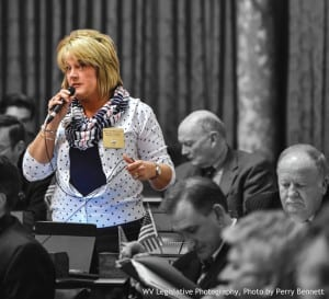 Denise L. Campbell from the House of Delegates speaks to the room.