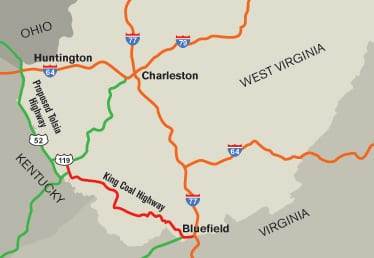 Map of south-west West Virginia showing King Coal Highway connecting 119 and 77