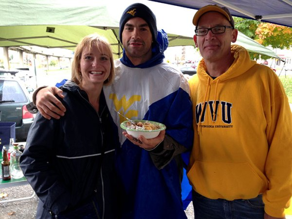Grant Wiley (center) stops by our tailgate