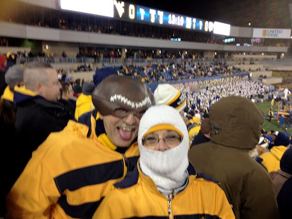 Rich and Ruthann are ready for the frigid night game
