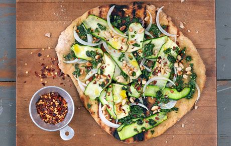 Spicy Grilled Vegan Pizzas with Summer Squash and Pine Nuts