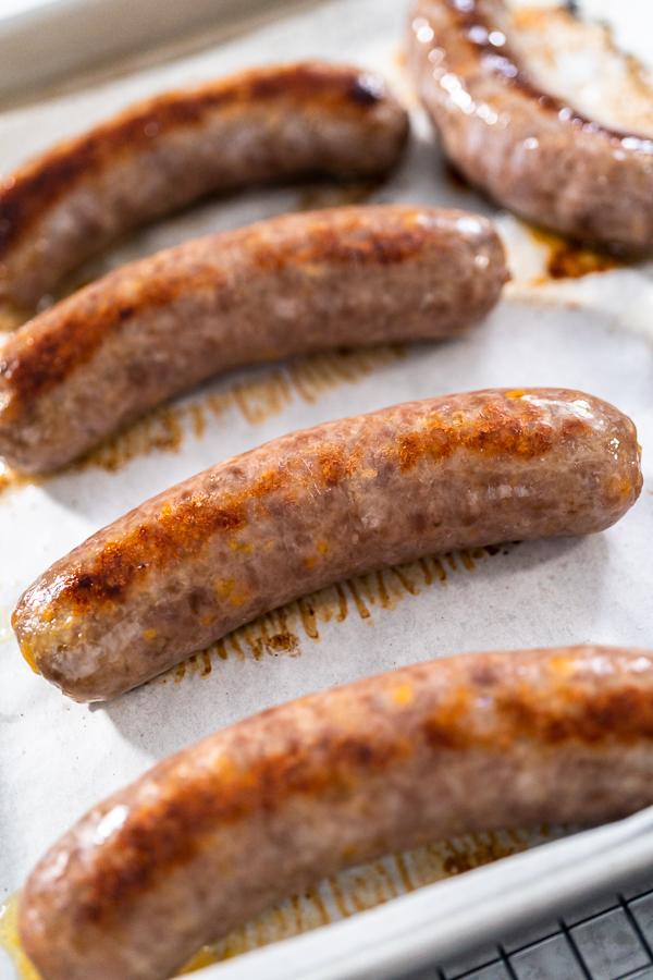 Oven baked bratwursts