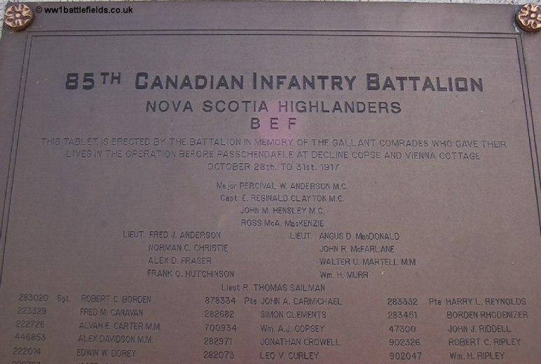 Plaque on the Memorial to the 85th Battalion