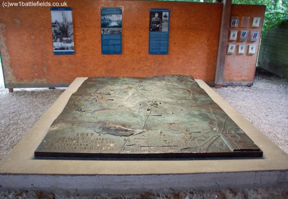 Bronze relief map at the Bayernwald Trenches