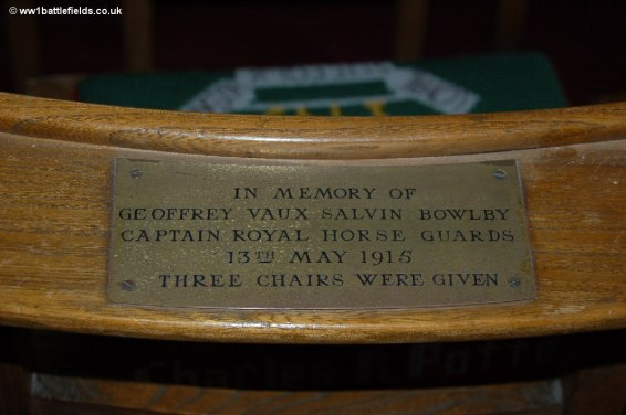 The name of Captain SBowlby can be seen on a chair in St. Georges Memorial Church, Ypres