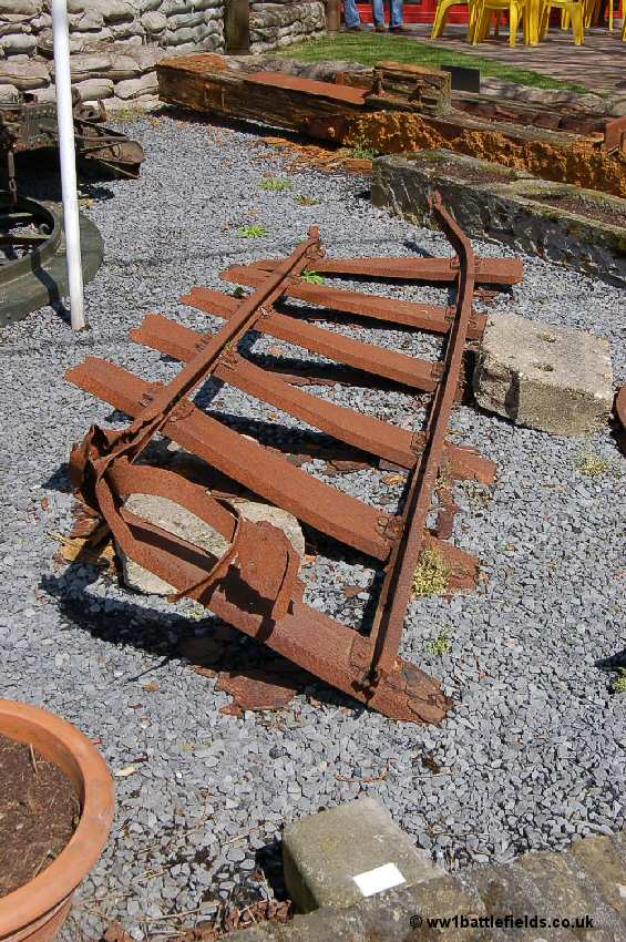 Rusting rail tracks at Hooge Crater Museum